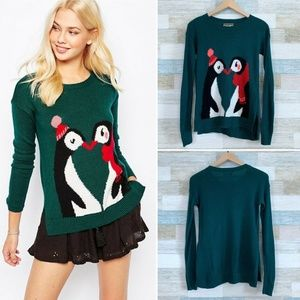 Penguin Christmas Sweater Green Hollister